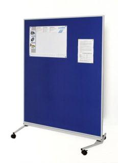 Mobile-Funktionswand, Textil königsblau, 1200 x 1625 x 670 mm (B x H x T)