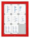 Schaukasten T - Premium 9 x A4 rot (RAL 3020), für...