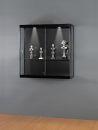 Wandvitrine MPC 1000-W schwarz eloxiert, mit Beleuchtung