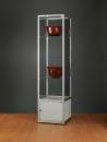 Glasvitrine WMS H500-O-Tech, silber mit Unterschrank