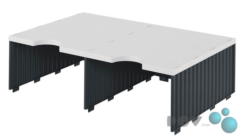grau//schwarz Grundeinheit mit 2 Etagen à 3 styro Sortierstation Styrodoc Jumbo