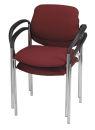 2 NOWY STYL Besucherstühle, rot, Gestell chrom, mit...