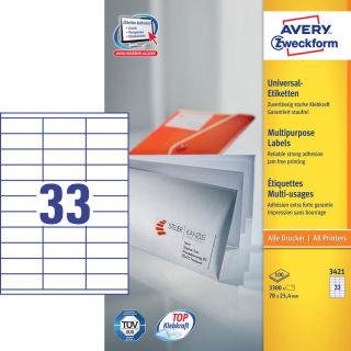 3.300 AVERY Zweckform Etiketten 3421 weiß