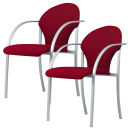 2 NOWY STYL Besucherstühle, rot/chrom