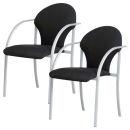 2 NOWY STYL Besucherstühle, schwarz, Gestell alufarben
